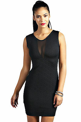 Abito cono aperto nudo Trasparente Cerimonia Party Mini Textured Mesh Club Dress