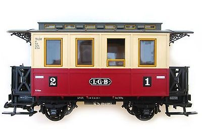LGB Passenger car, red-beige, Indoor benches, G Scale, for LGB Clutch