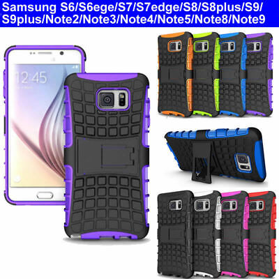 Case Cover For Samsung Galaxy Note 2/3/4/5 Built-in Kick Stand Shockproof TPU