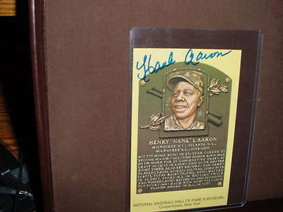 HANK AARON SIGNED AUTO autographed  yellow HOF PLAQUE baseball ~FREE SHIPPING