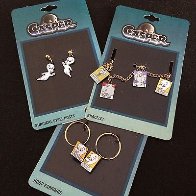 Vtg Casper Ghost Charm Bracelet & Two Sets of Earrings Unused 1995 Hoop Danglers