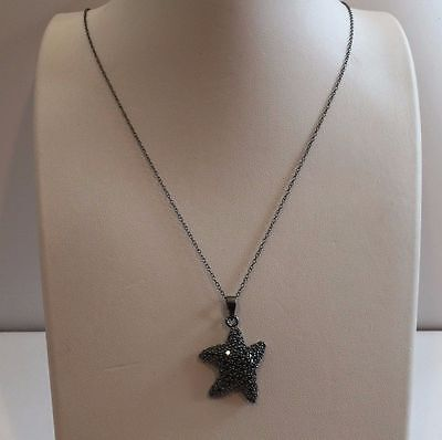 925 Sterling Silver Black Rhodium Star Fish Pendant Necklace W/3 Ct Blk Diamond