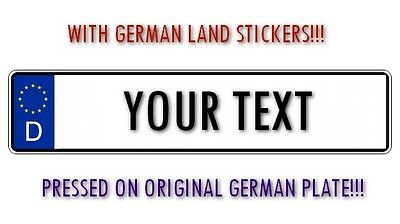 Personalized and Customized License Plate Your OWN TEXT Pressed - Germany Euro!