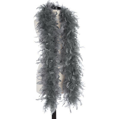 Dark Gray 40 Gram Chandelle Feather Boas - 6 Feet Long - Halloween Costumes Trim