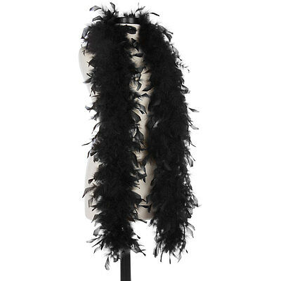 Black 40 Gram Chandelle Feather Boas - 6 Feet Long - Halloween Costumes - Trim