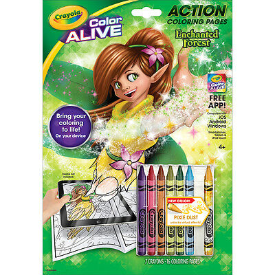 Crayola Color Alive Action Coloring Pages Enchanted Forest 95-1047