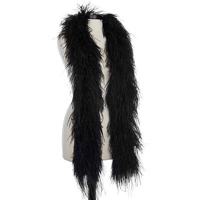 Black 8 Ply Ultra Ostrich Feather Boas - Scarf - 6 Feet Long - Halloween Costume