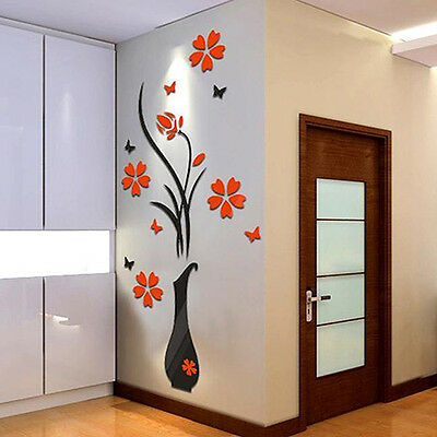 Removable 3D Vase Flower Tree Wall Stickers Home Ideal Diy Living Room Decor