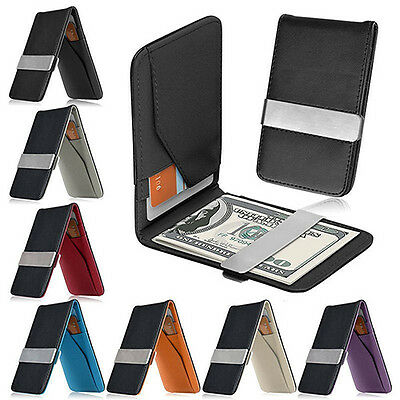 Men's Ideal Faux Leather Money Clip Slim Wallet Id Credit Card Holder