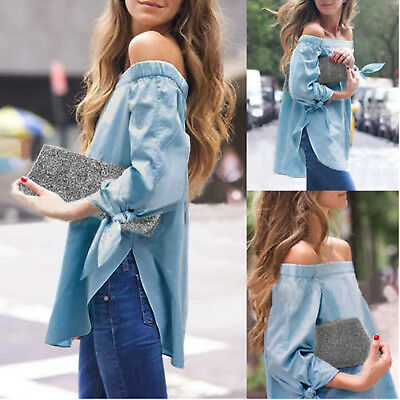 Fashion Women Summer Off Shoulder Long Sleeve T Shirt Casual Loose Tops Blouse