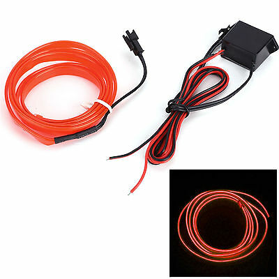 Red 2M Car Felexible Flash LED Neon Light Glow EL Strip Tube Wire Rope + Driver