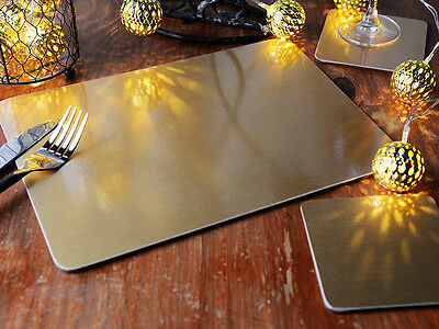 Set of 6 CHRISTMAS GOLD FOIL Cork-backed PLACEMATS & 6 COASTERS (12 Piece Set)