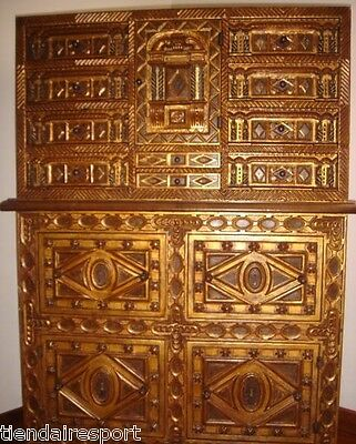 ANTIQUE 16th C. DESK CABINET & LOCKER WALNUT COLUMS BONE HAND CARVED FURNITURE