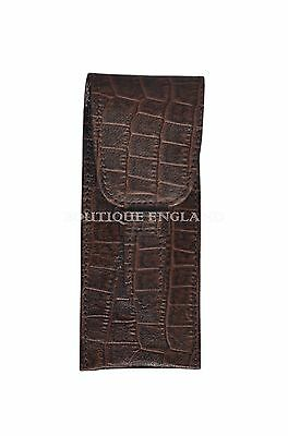 New Double Leather Pen Holder Luxury Real Genuine Croc Leather Deluxe Case Pouch