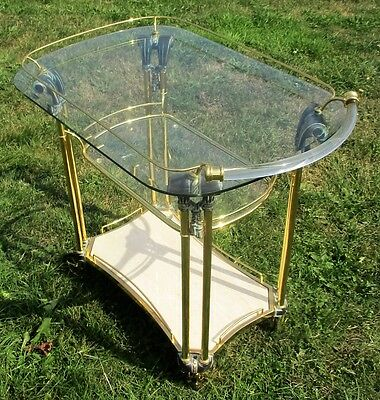 Ornate Glass Marble Bar Cart Trolley Cocktail Entertainment Hollywood Regency