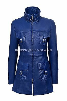 Ladies Zip up Leather Jacket Mid Length Slim Fit Style Casual Coat Blue 1310