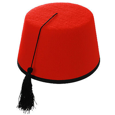 e2626c8a852ef Adult Red Fancy Dress Fez Tassel Hat (Turkish / Moroccan / Tommy Cooper  Style)