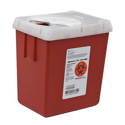 ** Covidien - Phlebotomy Sharps Container, 2.2 Quart, Red, With Lid. #1522SA,