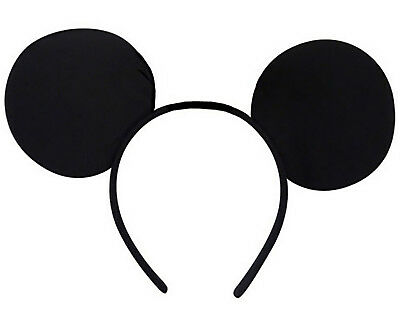 Mickey Mouse Ears Black Headband Disney Minnie Adult Kid Fancy Dress Her Him Set