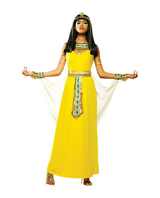 Adult Women's Ancient Egyptian Cleopatra Costume Dress Headpiece Queen Yellow