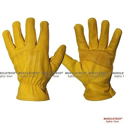 Yellow Leather Safety Work Gloves Leather Rigger Gloves Gardening Gloves