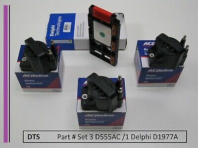 Set of Three A/C Delco Coils D555 and One Delphi Ignition module, D1977A,DS1004
