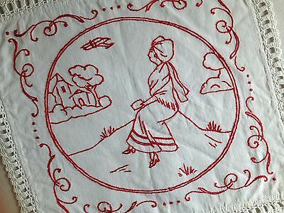 VINTAGE/ANTIQUE FRENCH DOILY - RED EMBROIDERY - CROCHET LACE - Alsace