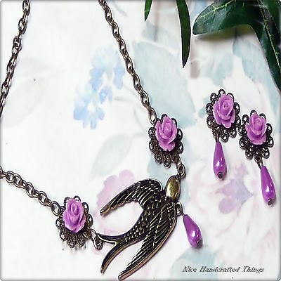 Necklace and earrings set, Purple Bronzed dove roses, pierced or clip on