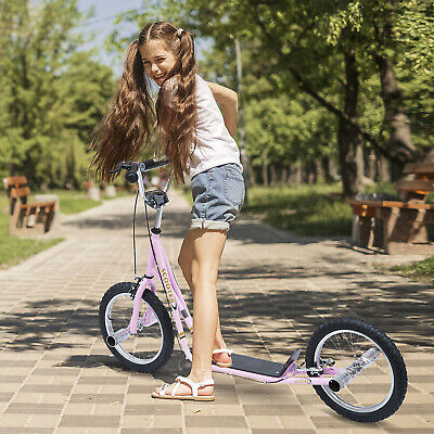 "HOMCOM 56.3"" Adult Teen Push Scooter Children Stunt Scooter Bike Bicycle Ride On"