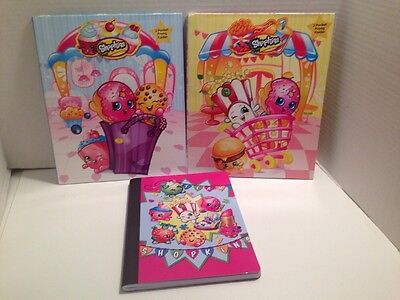 Shopkins 2 Pocket Prong Folders & Composition Notebook Team Shopkins All 3 Items
