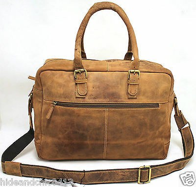 Vintage Leather Cabin Size Duffle Bag
