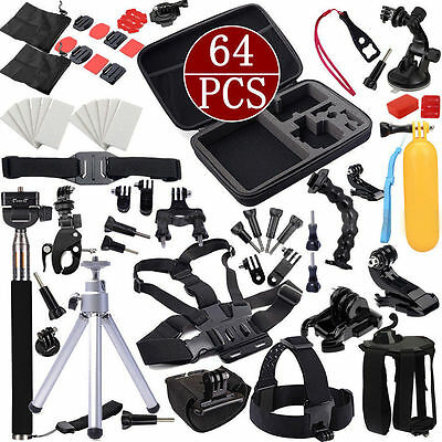 64in1 Head Chest Mount Floating Monopod Accessories Kit For GoPro 2 3 4 CameraHL
