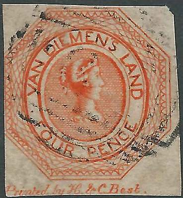 TASMANIA 1853-54 Plate 1 Courier 4d Bright Red-orange good imperf sg5 cv£1000 FU