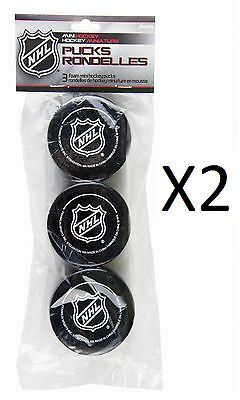 Franklin NHL Soft Sponge Mini Knee Hockey Pucks 3 Pieces Durable New (2-Pack)