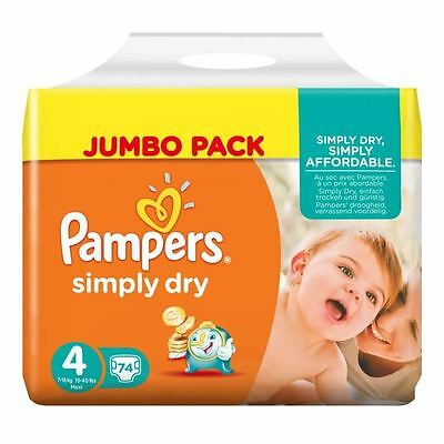 PAMPERS Simply Dry Taille 4, 7 a 18kg 74 couches