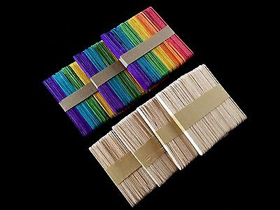 600 x Wooden Popsicle Sticks Craft Paddle Pop Stick Natural or Assorted Color