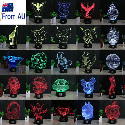 2017 3D Acrylic LED Night Light 7 Color Touch Table Desk Art Lamp Birthday Gift