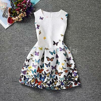 Girls Kids Baby Dress Butterfly Floral Princess Wedding Party Pageant Dresses