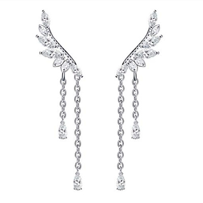 925 Sterling Silver CZ Leaf Branch Angel Wing Climber Crawler Post Drop Earrings