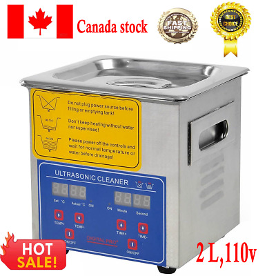 New Stainless Steel 2L Liter Industry Heated Ultrasonic Cleaner Heater Timer CA