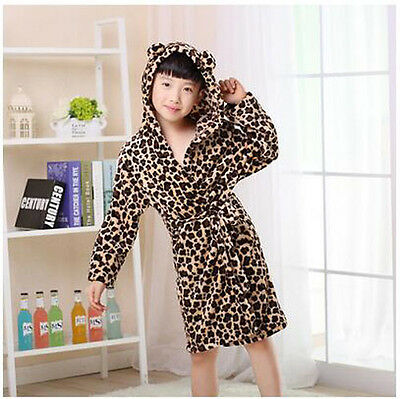 7635 Girls Boys Night Bath Robe Sleepwear Kids Flannel Homewear Pajamas S6-12Y