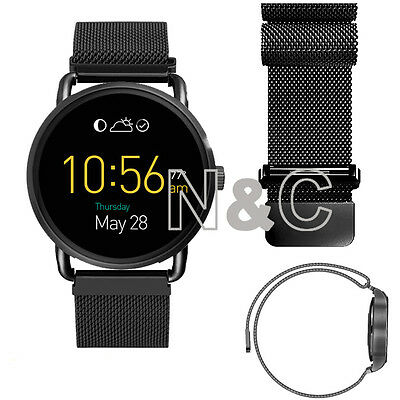 Black Stainless Steel WatchBand For Fossil Q Wander Bracelet Strap Band