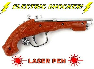 Electric Shock Gun Brown Pistol Laser Light Prank Novelty Trick Party Xmas Gift
