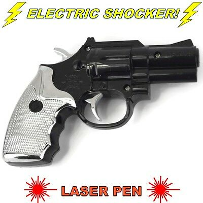 Electric Shock Gun Black Pistol Laser Light Prank Novelty Trick Party Xmas Gift
