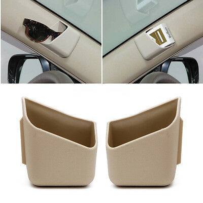 1Pair Beige Universal Car Auto Accessories Glasses Organizer Storage Box Holder