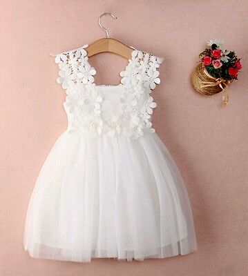 Baby Girls Lace Flower Party Wedding Birthday Princess Tutu Dress Christening