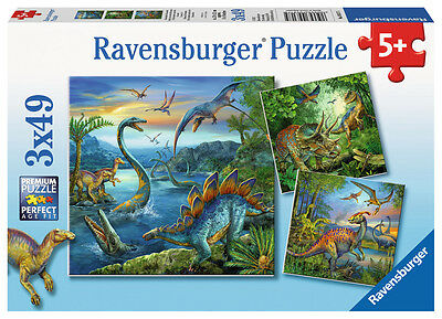 3 x 49 Teile Ravensburger Kinder Puzzle Faszination Dinosaurier 09317