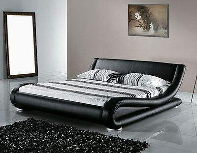 Designer Upholstered Bed Leather Bed Black Wavy Wavy Luxury Leather Bed