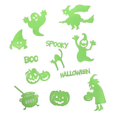 Spooky Glow In The Dark Adhesive Decorations For Halloween - Pumpkin / Witch