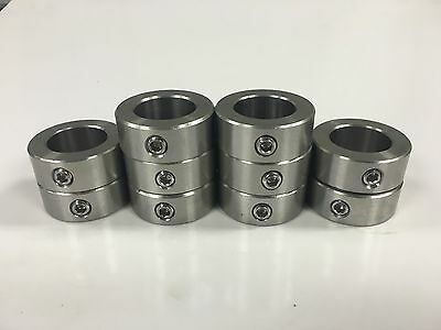 """(10pcs) 1/4"""" Inch Stainless Steel Shaft Collar - Solid - Set Screw - SSC-025"""